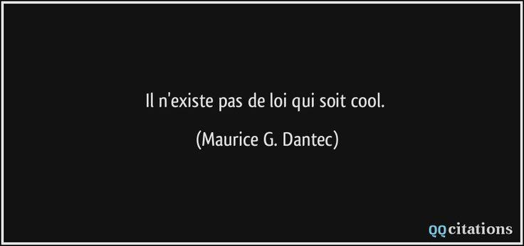 Il n'existe pas de loi qui soit cool. - Maurice G. Dantec
