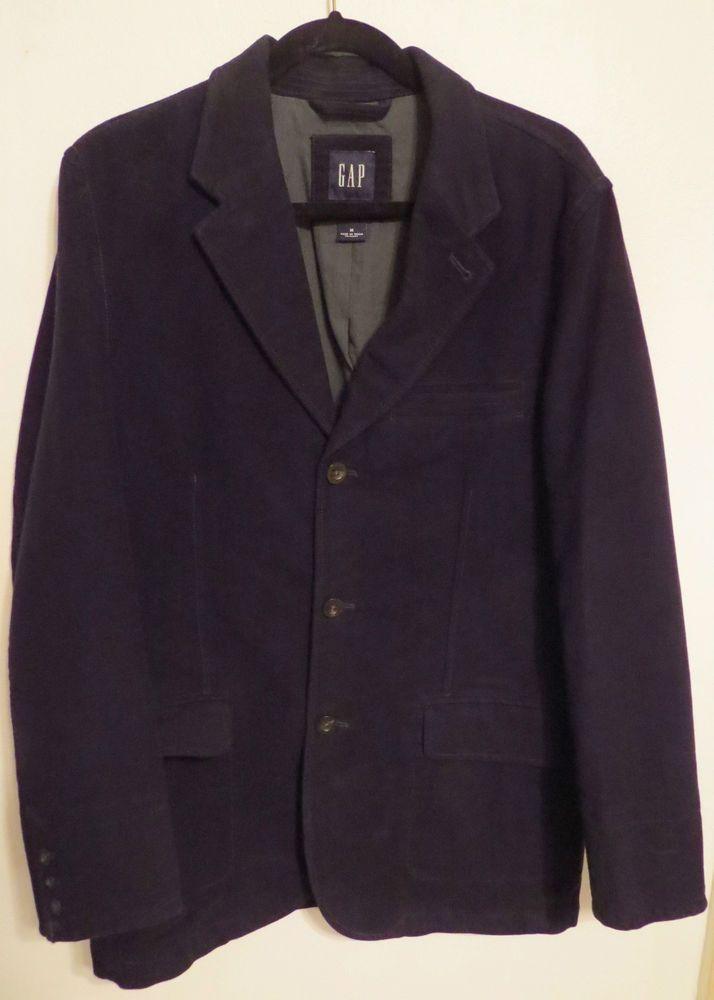 GAP Mens Black Velvet 3 Button Blazer Jacket with 2 Front Flap Pockets, Size Large