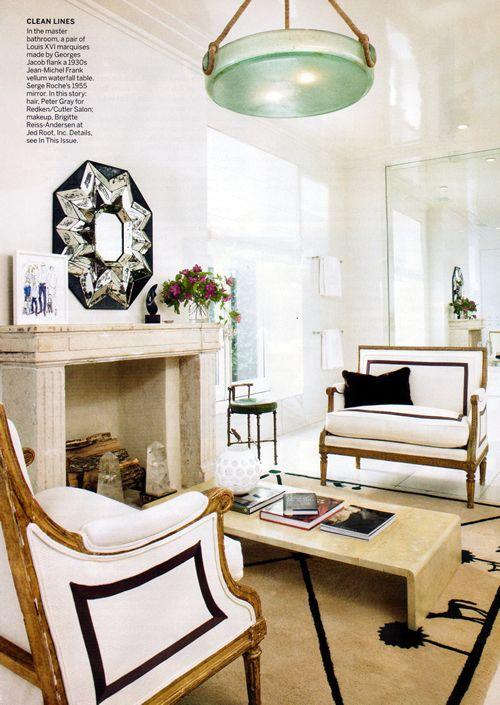 that upholstery kills: Bathroom Design, White Chairs, Living Rooms, Louis Xvi, Lights Fixtures, Black And White, Bathroom Interiors Design, Decor Blog, Master Bathroom