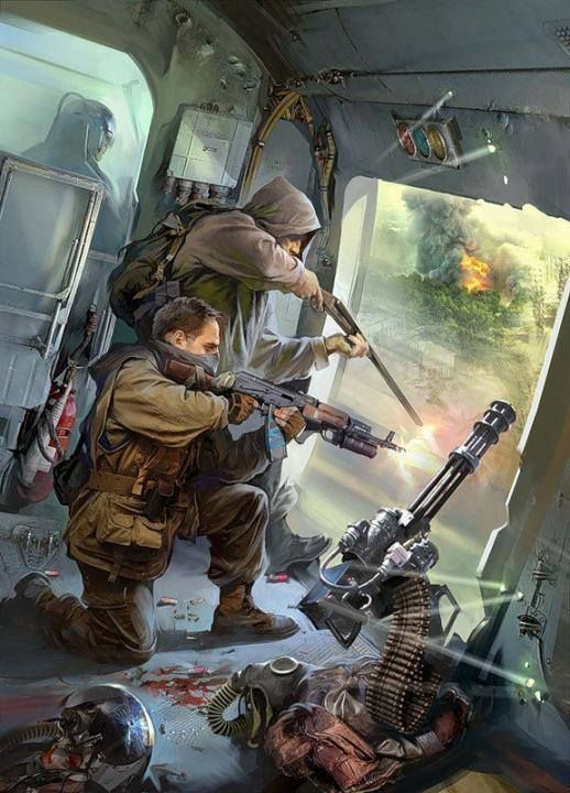 I like this image because, it illustrate a possible escape from zombie outbreak, using a chopper.