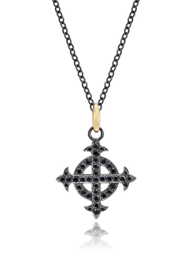 Lilly Street Blackened Sterling Silver Diamond Celtic Cross Pendant