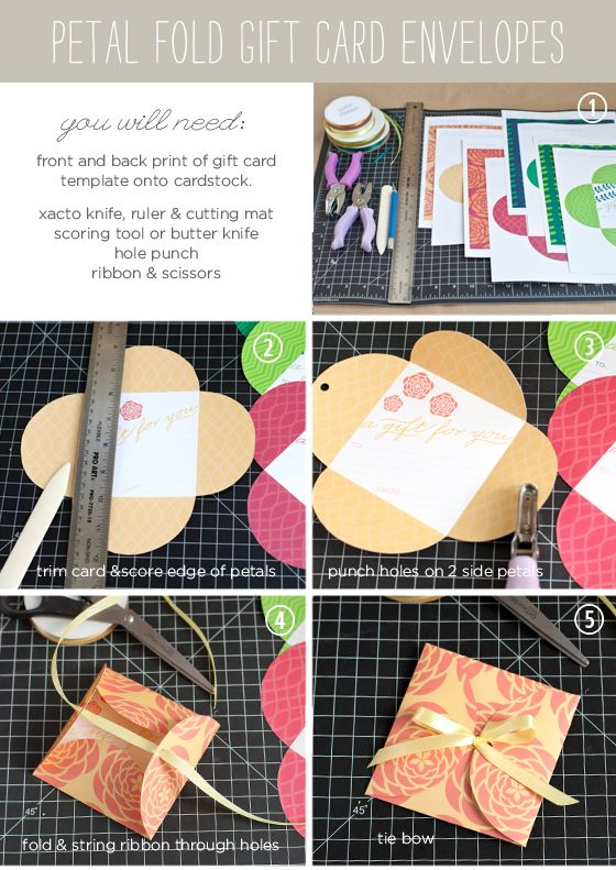 FREE Printable Petal Fold Gift Cards in several colors -Tutorial