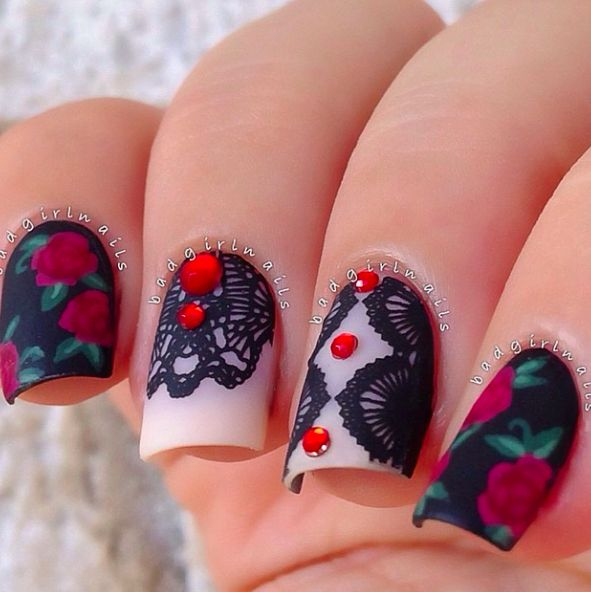 gorgeous lacy nails badgirl nails