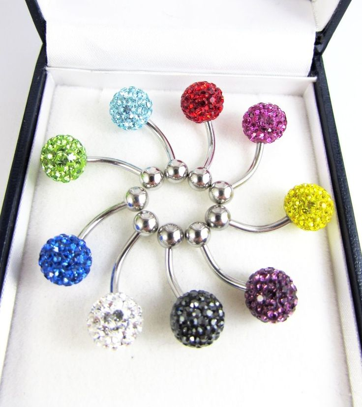 Surgical Steel Crystal Ball Body Piercing Belly Bar Button Navel Ring