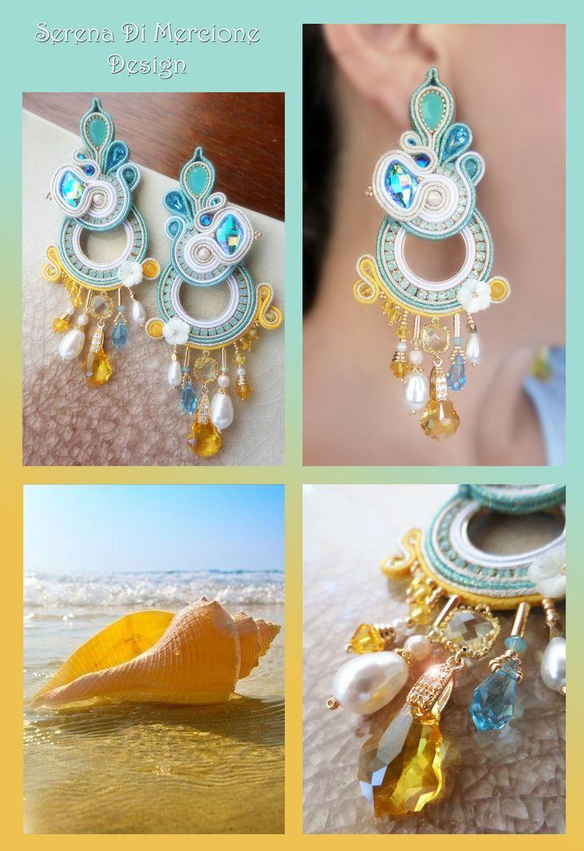 Soutache Earrings by Serena Di Mercione. --- Swarovski - pearls - soutache - yellow - sun - sea - aqua -
