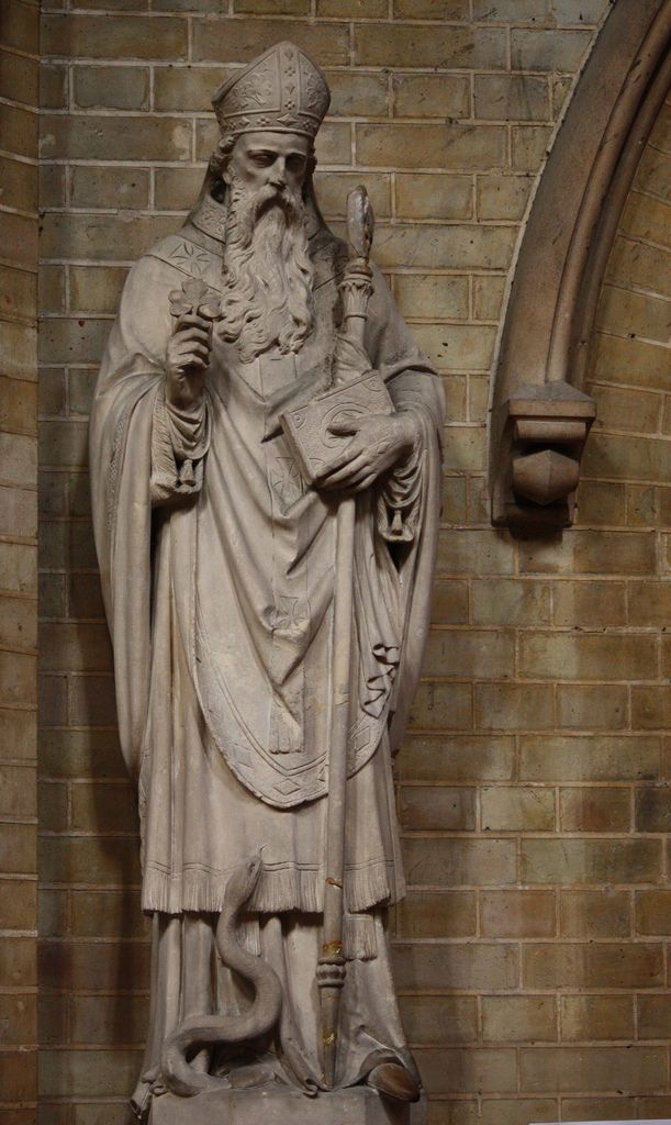 St Patrick in St Dominic's  Statue of the patron and apostle of Ireland in St Dominic's priory church in London. His feast falls on 17 March.