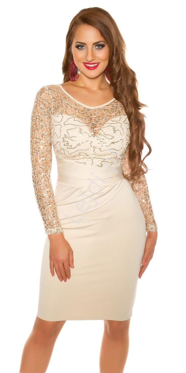 Wieczorowa beżowa obcisła sukienka z koronkową górą ozdobioną złotymi cekinami. Sukienka z dekoltem w serduszko przykrytym pod szyję koronką. Rękawy długie koronkowe. W talii piękne drapowanie ukrywające ewentualne mankamenty figury. Sukienka podkreśla kobiece wdzięki. Zapinana z tyłu na zamek. Sukienka na studniówkę, sylwestra, wesele czy inne wieczorowe wyjścia. Dress, dresess, sequin dress www.lejdi.pl