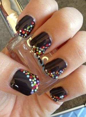 Choose a solid color to paint as your base coat, let dry. Then take a tooth pick and dip into colors desired and make dots. Let dry. Then apply a clear coat on top. Dry. Be fabulous!