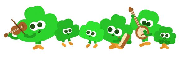 Today on the Google home page is an annual Google Doodle for St. Patrick's Day.  This year, Google has an animated version of the Doodle.  The Google logo has four leaf clovers dancing...