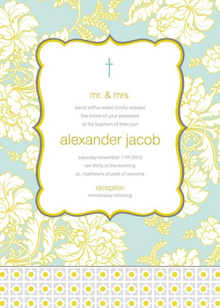 Pale Blue and Gold Brocade Baptism Invitation