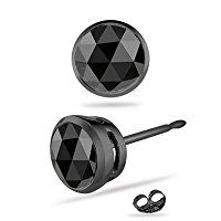 0.31-0.38 Cts AA Round Rose Cut Black Diamond Men's Single Stud Earring in 14K Blackened White Gold