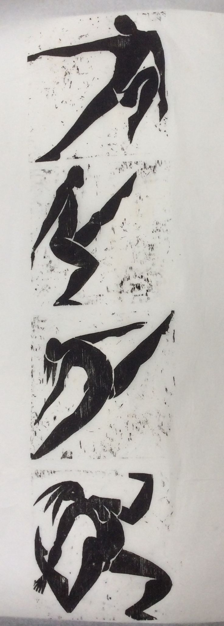 Dancers . Plywood cuts. Louise Baker