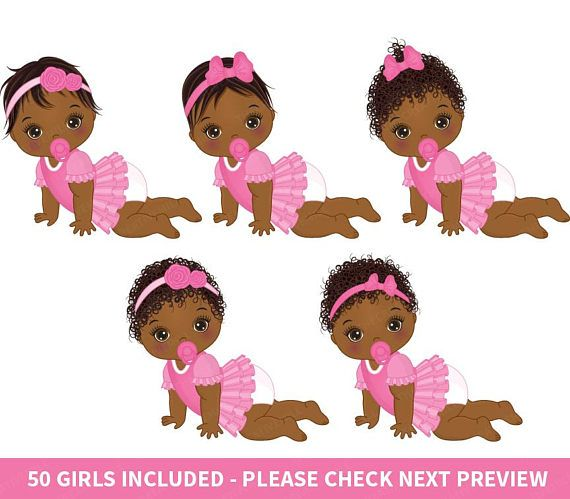 Baby Girl Clipart Vector Baby Clipart Baby Clipart Newborn Etsy Baby Girl Clipart African American Babies Baby Shower Clipart
