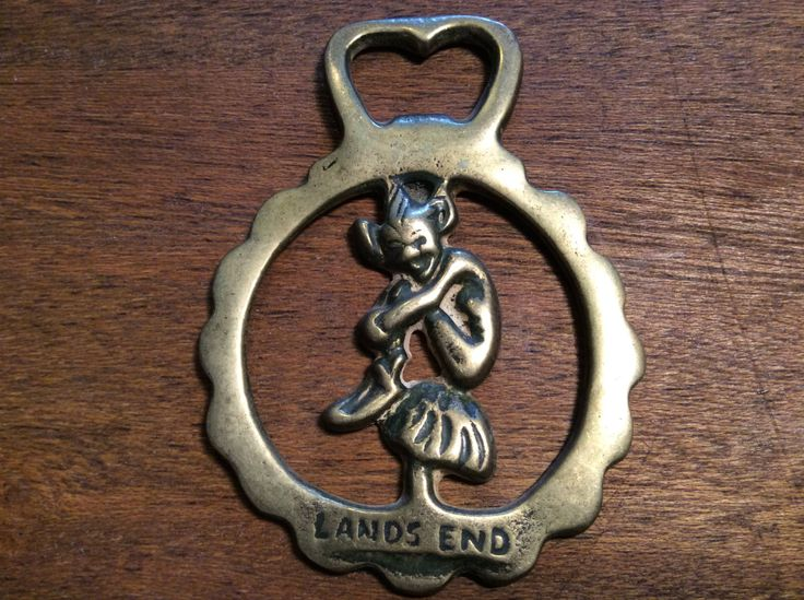 Vintage English pixie lands end horse brass horsebrass medallion tack harness good luck charm souvenir circa 1950's Purchase in store here http://www.europeanvintageemporium.com/product/vintage-english-pixie-lands-end-horse-brass-horsebrass-medallion-tack-harness-good-luck-charm-souvenir-circa-1950s/