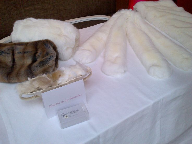 Bridal faux fur scarves by Blanche in the Brambles