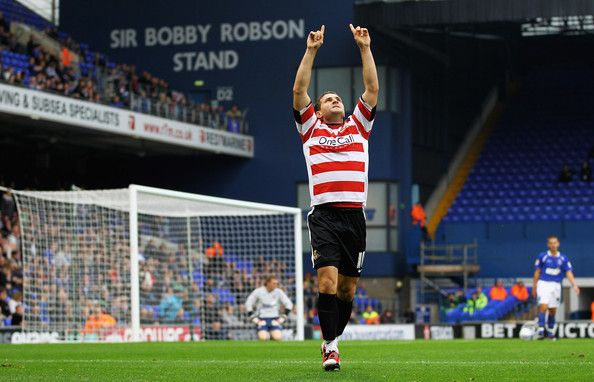 Doncaster Rover's Billy Sharp celebrates his goal during the league game at Portman Road. Sharp, whose new-born son Luey had died a week earlier, was applauded by Town fans after he scored his side's second goal (5-11-2011).
