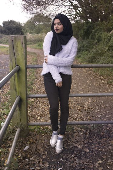 Saima Chowdhury - Al Madina Hijabs Black Scarf, Primark Lilac Jumper, Topshop Leigh Jeans, Primark Frilly Socks, Ebay Holographic Shoes - TO NEW BEGINNINGS