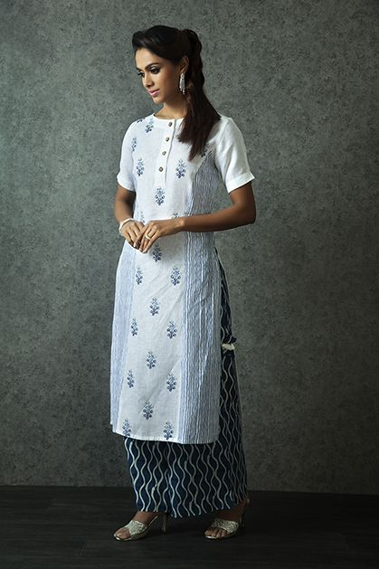 W16-115 - Linen block print kurti with indigo pants