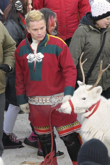 Young Sami man in Jokkmokk, Sweden. Pay attention to the leg bands.