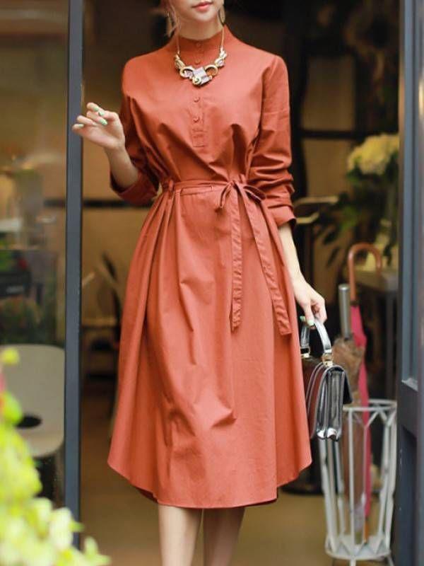 トレンド感満載のスタンドネック長袖ファッションOL通勤ワンピース - レディースファッション激安通販 20代·30代·40代ファッション