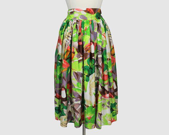 Charles Jourdan Vintage 1980s Full Gathered Skirt Tropical
