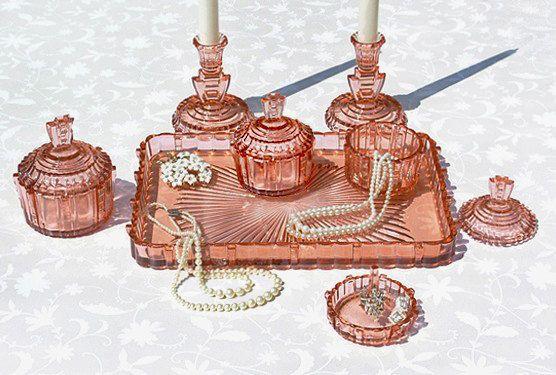 10 Piece Art Deco Pink Depression Glass Vanity by OhWowGlassware