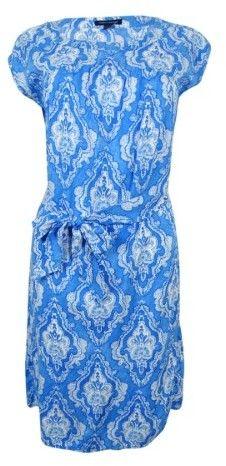 Tommy Hilfiger Women's Printed Cap-Sleeve Dress (Electric Blue Lemonade, 12)