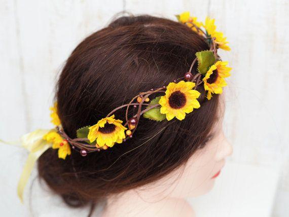 Sunflower Hair Accessory Hippie Headband by TwoCatsAndAnOwl