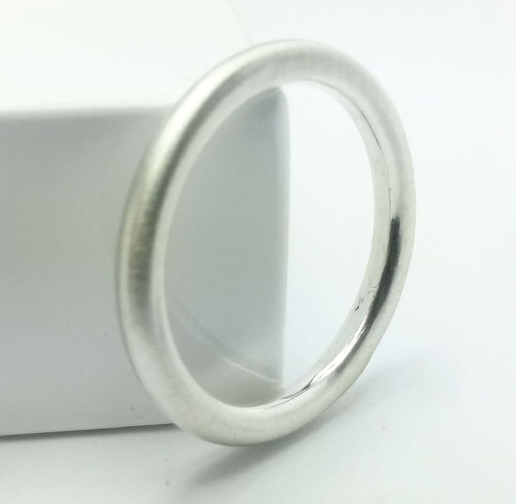 Sterling Silver 2.5mm Brushed Round Shape Halo Style Plain Wedding Band Ring #Handmade #Band