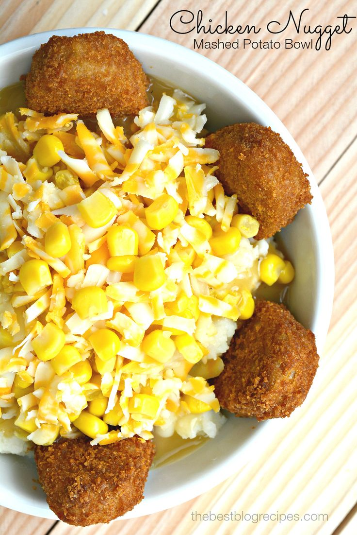 #AD Chicken Nuggets Mashed Potato Bowl from thebestblogrecipes.com #MorningStarFarms #CleverGirls