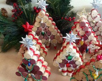 Wine cork Christmas Tree.....Upcycled Cork Christmas Decorations, Small..Tree