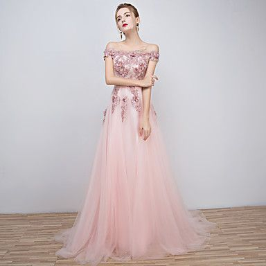 Formal Evening Dress A-line Off-the-shoulder Floor-length Tulle with Beading – EUR € 78.39