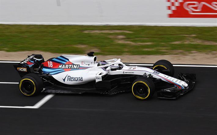 Download wallpapers Williams FW41, 2018, Formula 1, season 2018, exterior, new pilot protection, HALO protection, Formula One racing car, Williams