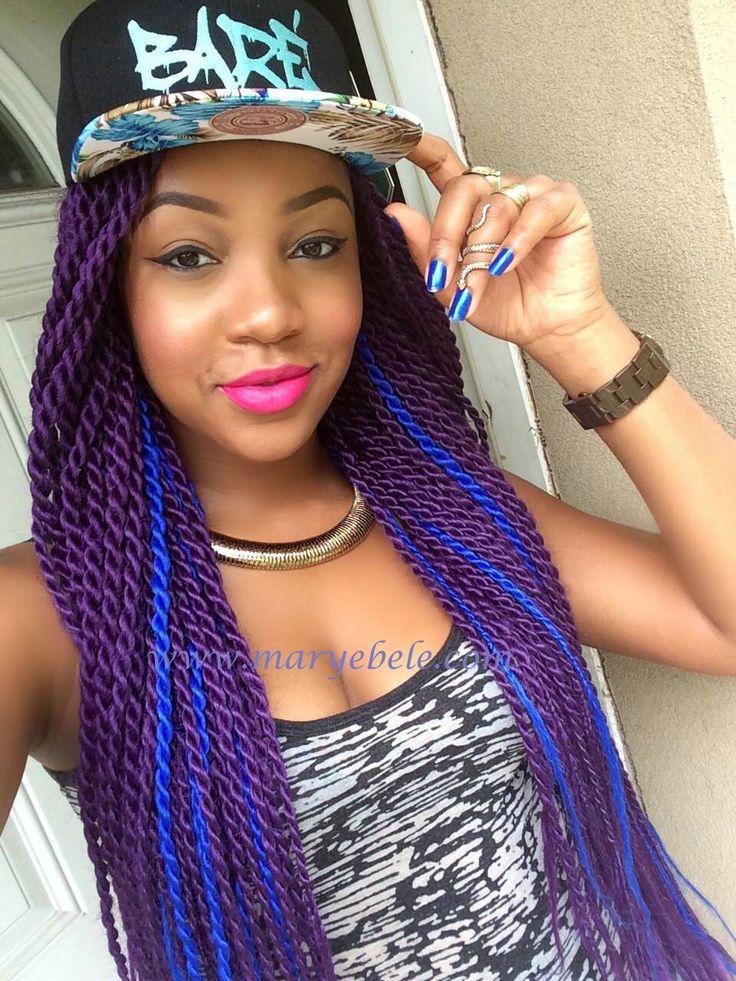 senegalese twists purple blue