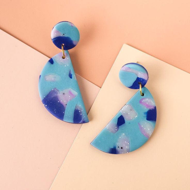 Makeforgood // Polymer Clay // Statement Earrings // White granite, blue & mauve by colourwork on Etsy https://www.etsy.com/au/listing/481162161/makeforgood-polymer-clay-statement