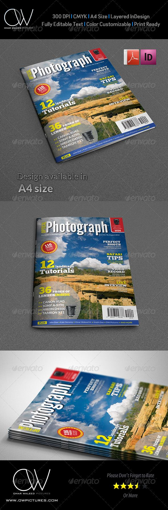 Photographer Magazine Cover Template Vol.3