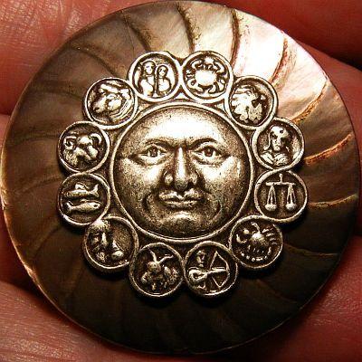 Huge Vintage Zodiac Signs Brass Button