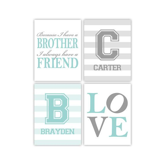 brother quotes  twin boys nursery art print  because I have