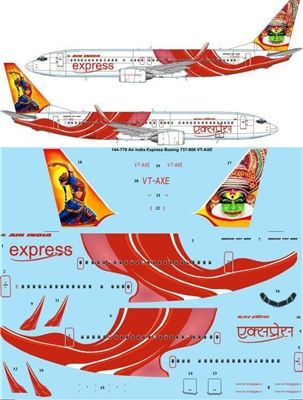 1:144 Air India Express Boeing 737-800 VT-AXE 'Kathakali'
