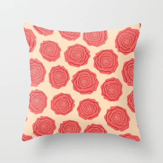 Roses Pattern Throw Pillow #roses #flowers #art #illustration #botanical #nature #red #blossom #floral #faerieshop #pink #pattern #beige #delicate #cute #pastel #trendy #girly #girlish #romantic #vintage #cool #home #society6 #decor