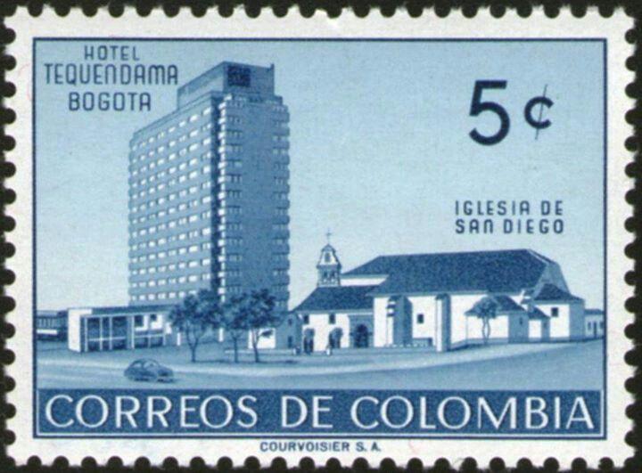 ¡¡¡HOTEL TEQUENDAMA -IGLESIA SAN ISIDRO BOGOTÁ, EMITIDA 1955!!!