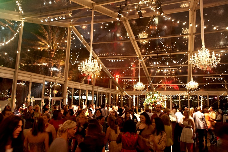 """Southern Chic"" themed party inside a lucite tent -- chandeliers inside a tent!"