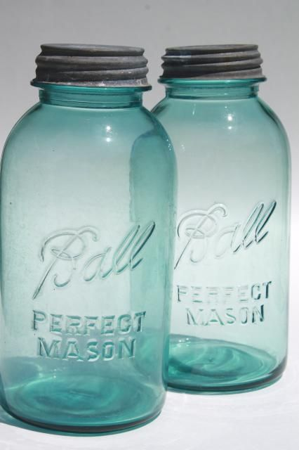 vintage aqua blue glass Ball Perfect Mason jars, big two quart size canning jar…
