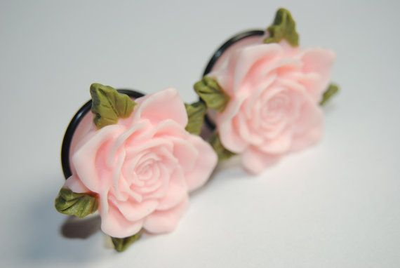 Pink Rose 1 inch (25mm) Acrylic Plugs, Ear Gauges, Girly, Cute, Formal, Stretched Ears, Pastel, Light, Floral, Flower, Plugs for Girls
