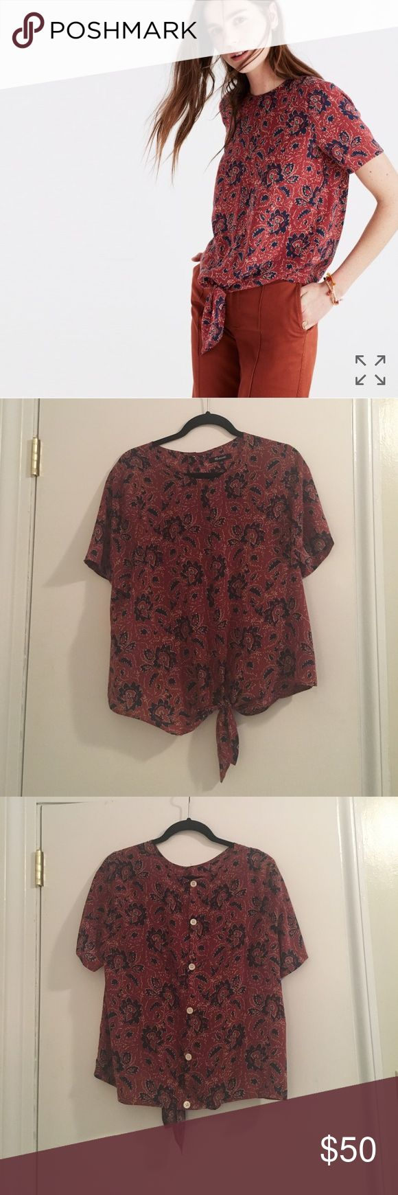 Madewell silk button-back tie tee, size L Madewell silk button-back tie tee in Assam Floral, size L. Worn once--excellent condition. Really cute tie front and button-back details! Madewell Tops Blouses
