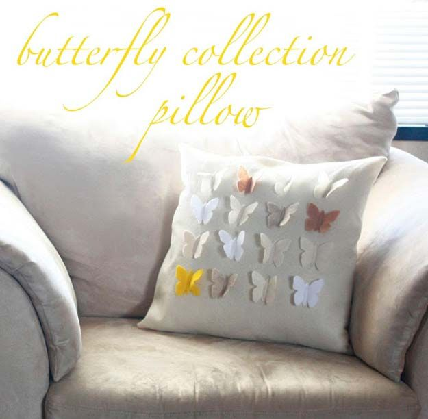 DIY Pillows and Fun Pillow Projects - DIY Butterfly Collection Pillow - Creative, Decorative Cases and Covers, Throw Pillows, Cute and Easy Tutorials for Making Crafty Home Decor - Sewing Tutorials and No Sew Ideas for Room and Bedroom Decor for Teens, Teenagers and Adults