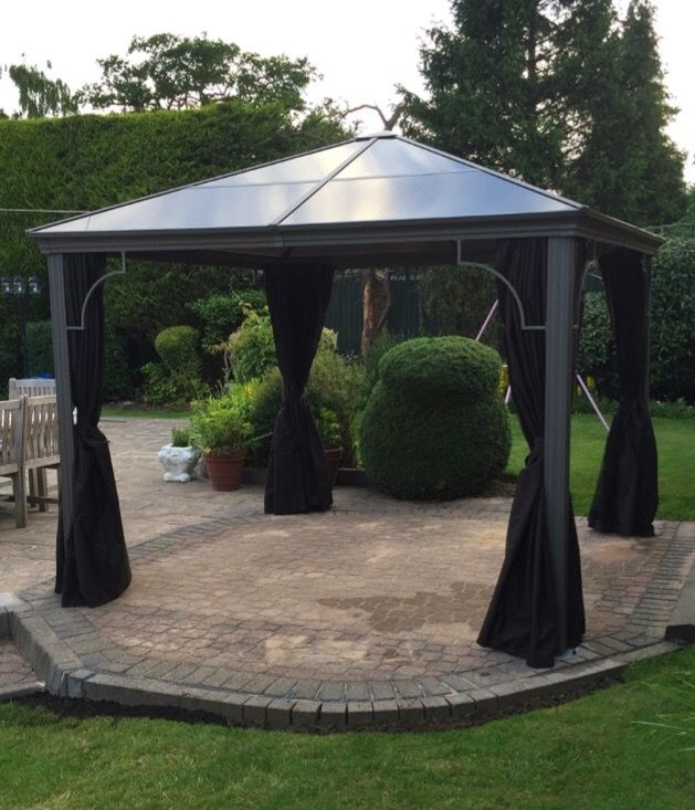 Deluxe 3m Sq Polycarbonate Solid Roof Gazebo