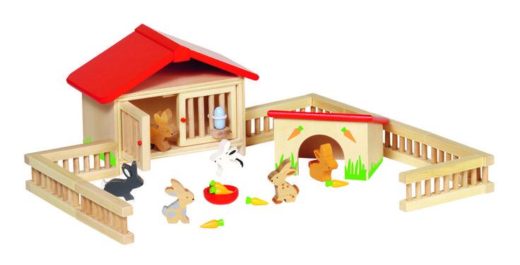 ESTABLO DE CONEJOS PARA CASA DE MUÑECAS El juguete de madera conejera de Goki es un complemento ideal a la casa de muñecas o para un establo o granja. Tiene 25 piezas. PVP: 19,80 € http://www.babycaprichos.com/establo-de-conejos-para-casa-de-mu-ecas.html