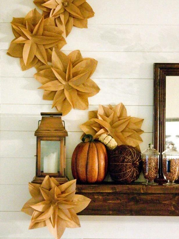 Gorgeous Fall Display (blossoms made from brown paper bags) http://www.hgtv.com/decorating-basics/9-ways-to-deck-out-your-walls-for-fall/pictures/page-2.html?soc=pinterest