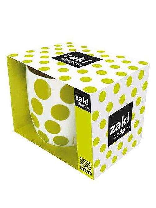 Porcelánový hrneček se zeleným puntíkem od Zak!designs.